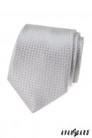 Šedá kravata s prešívaným vzorom