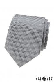 Šedá kravata s prepletaným vzorom