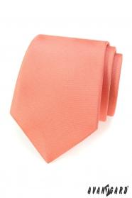 Jednofarebná kravata matné lososovej farby