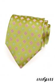 Svetlozelená kravata ružový modrý vzor