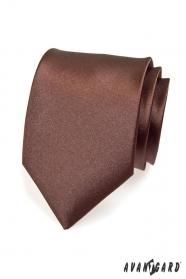 Hnedá hladká kravata pre mužov