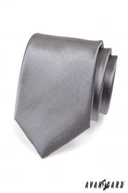 Kravata pre mužov grafitová hladká