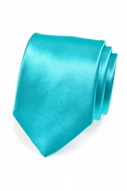 Klasická jednofarebná pánska tyrkysová kravata