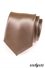 Lesklá hnedá pánska kravata