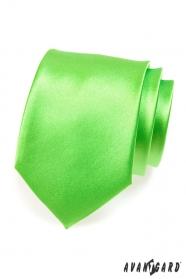 Pánska kravata stredne zelená lesk