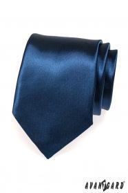 Tmavo modrá kravata lesklá