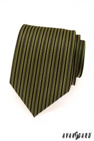 Pánska kravata zelené a čierne prúžky