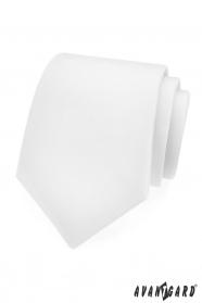 Hladká biela matná kravata