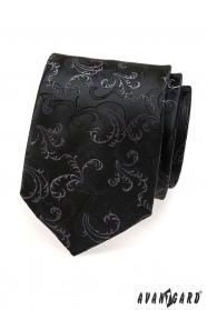 Čierna kravata jemný vzor