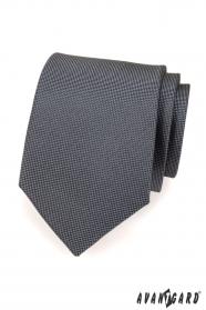 Pánska kravata grafitová jemne kockovaná