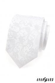 Kravata slávnostná biela so vzorom