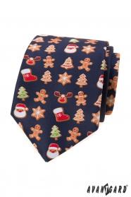 Modrá kravata s vianočným motívom