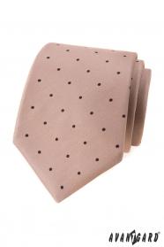 Béžová kravata s čiernymi bodkami