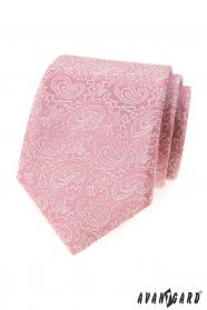 Púdrovo ružová kravata so vzorom Paisley