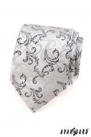 Pánska kravata čierné šedé motívy