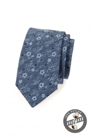 Bavlnená kravata modrá s kvetinami