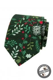 Zelená vianočná kravata