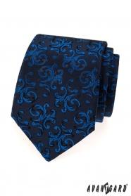 Tmavo modrá kravata s lesklým modrým vzorom
