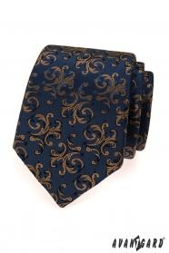 Modrá kravata s hnedými ornamentami
