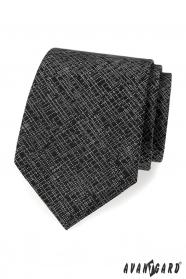 Čierna pánska kravata s bielym vzorom