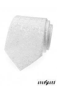 Biela kravata s lesklým vzorom