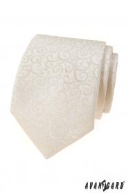 Smotanová kravata s lesklým vzorom