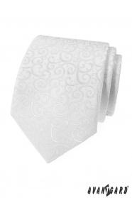 Pánska kravata biela s lesklým vzorom
