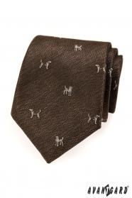 Hnedá kravata motív pes