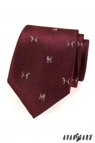 Bordo pánska kravata pes