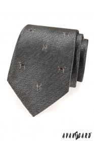 Šedá kravata motív pes