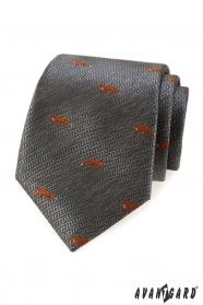 Šedá kravata oranžová líška