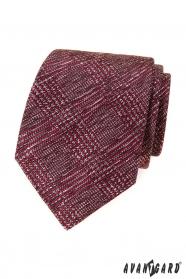 Pánska kravata s červeno-šedý vzorom