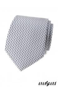 Svetlo šedá kravata s modrým vzorom