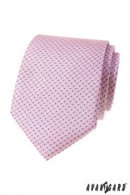 Ružová kravata s jemným modrým vzorom
