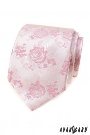 Ružová kravata s ružami