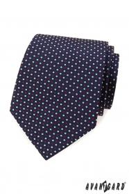 Modrá kravata s farebnými bodkami