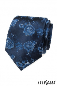 Modrá kravata s ružami