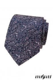 Tmavo modrá kravata s paisley v ružovej