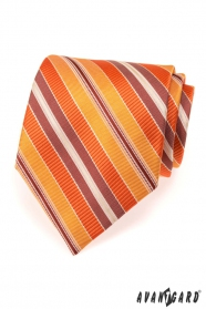 Pánska kravata s oranžovými prúžkami