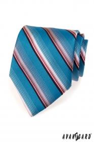 Modrá kravata s prúžkami v ružovej