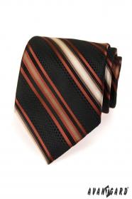 Čierna pánska kravata s oranžovými prúžkami