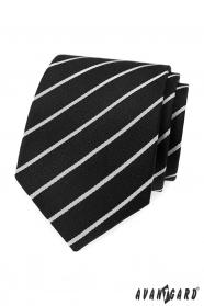 Čierna kravata s bielym pruhom