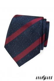 Modrá vzorovaná kravata s vínovým pruhom