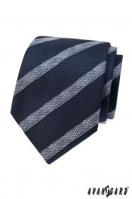 Modrá štruktúrovaná kravata s bielym pruhom