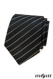 Čierna kravata s hnedým prúžkom