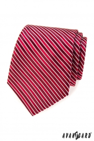 Červená kravata s bordó prúžkami