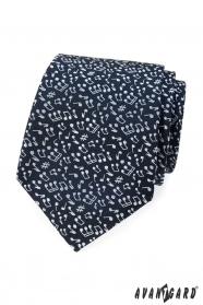 Pánska modrá kravata motív Nota