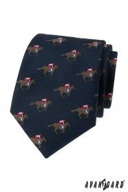 Modrá kravata vzor dostihový kôň