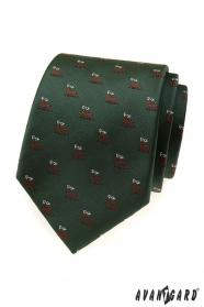 Zelená kravata s motívom jelen