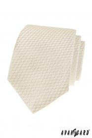 Krémová kravata s pruhovanú štruktúrou